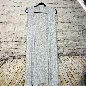 Lularoe Grey Long Sleeveless Kimono sz L